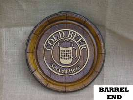 Cold Beer Sold Here Barrel Ends. Brand New Products.