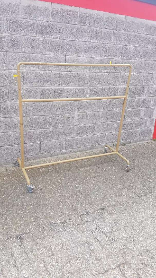 Bronze adjustable garment hanging  rail on wheels 0