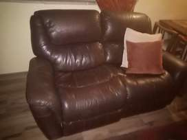 Leather upper couches and wall unit for sale