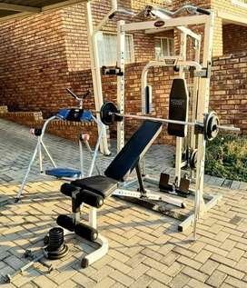 Trojan Power Cage with ez bar ,ab flyer,  and 2 dumbell bars