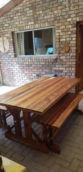 Blackwood dining/patio table with benches