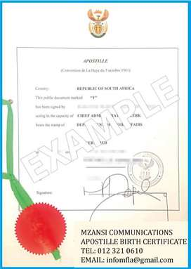 Apostille Certificate in South Africa for use in France