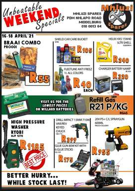 Unbeatable Weekend Specials at Mhluzi Spares!