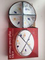 Набор из 4 тарелочек в соломенной корзинке