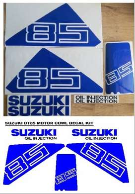 Suzuki DT 85 outboard motor cowl stickers / vinyl cut decal kits