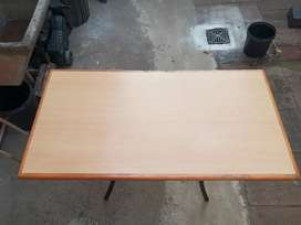 Wooden Table with Metal Frame