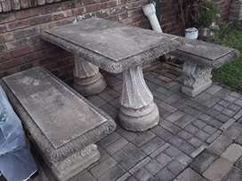 Cement Table and Benches