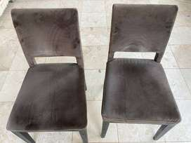 Weylandts classic pair of dining chairs, brown fabric, wooden frame,
