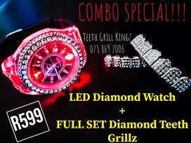 Combo Deal  LED WATCH + Full Teeth Grillz