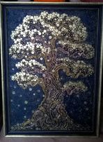 Подарок, денежное дерево, дуб, сосна, берёза из монет.