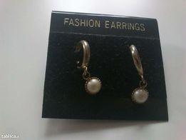 kolczyki z perłami pozłacane sztyft cudo