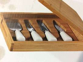 5 piece cheese knives and serving board set