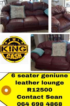 6 seater leather couch suite