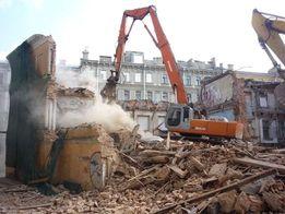 Демонтаж зданий кирпичных домов старых сараев Вывоз мусора на свалку