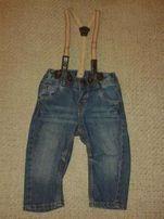 Моднячие джинсы на подтяжках H&M на 6-12 мес,рост 68-74 см