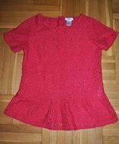 koronkowa elegancka czerwona malinowa bluzeczka bluzka z baskinką 36