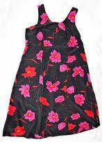 Платье шёлковое, тяжёлый шёлк с цветами, большой размер, США