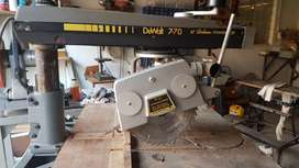 Radial Arm Saw - DeWalt 770, fitted on cutting table with casters