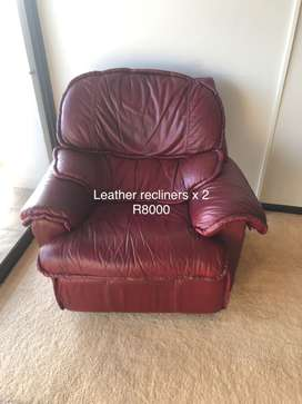 Genuine Leather recliners x 2