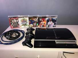 PlayStation3 console. 2 controllers. HDMI cable. 5 games