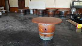 Wine barrel tables with chairs