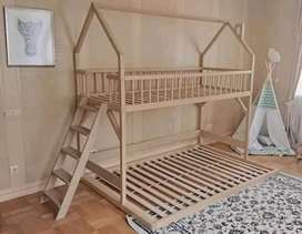 Single top bunk bed and double bottom bunk bed painted or varnish