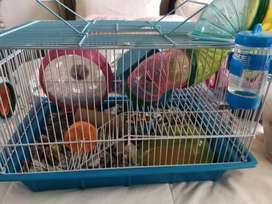 Hamster Cage with Hamster and Accessories