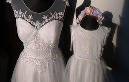 Suknia ślubna 36-38 + podwiązka gratis do wyboru Mama i Córka komplet
