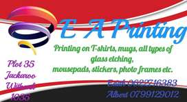 T-shirt printing,mugs,mousepads,caps any type of glass etching etc