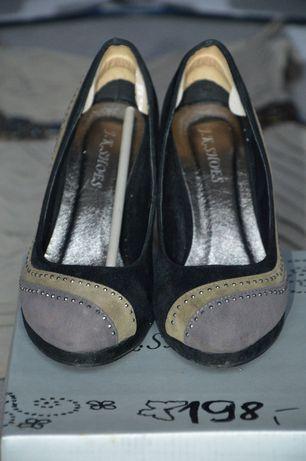 Buty damskie na grubym korku zamszowe z cekinami szary czarny zieleń Oborniki - image 3