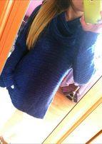Kobaltowy sweter z golfem topshop