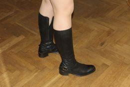 Czarne kozaki Skóra Rozmiar 36 24,5 cm