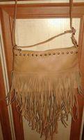 Nowa brązowa torebka z fredzlami