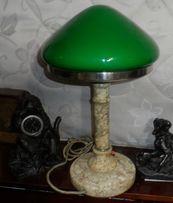 Настольная лампа мрамор, зеленый плафон. СССР.