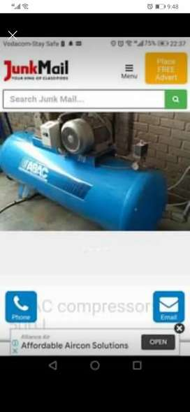 ABAC 3phase 500L compressor 7.5HP, OMI chiller and aftercooler incl