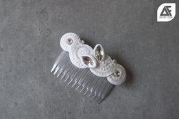 Grzebyk ślubny ślub biżuteria sutasz biały prezent spinka do włosów