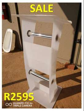 Frosted White C Shape Stand Lectern