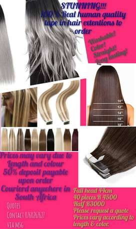 100% human hair extensions (tape in)