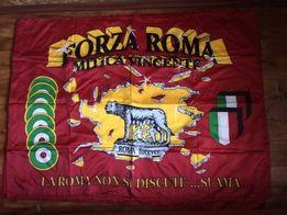Флаг футбольного клуба Рома Roma Рим Forza Roma с кормящим волком.