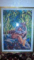 Картина вышитая бисером в рамке Тигр