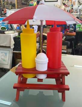 Condiments Wood Stand