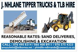 new tipper trucks and TLB for hire