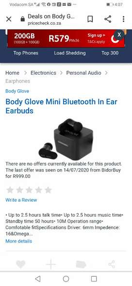 Body Glove Mini Bluetooth In Ear Earbuds