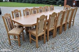 Stol+ 14krzesel rzezbionych dab rusykal (tapicerka shunshne6)
