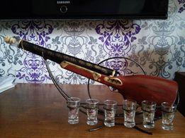 Сувенир - подарочный набор - Бутылка (Ружье) со Стопками - посуда
