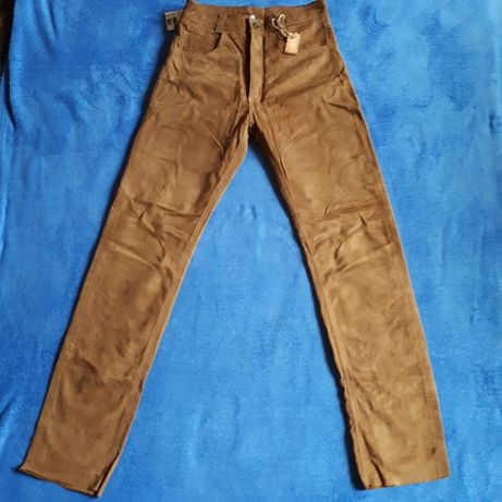 Nowe skórzane spodnie pięknie wyprawione piękny kolor rozmiar 30 Rzeszów - image 1
