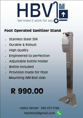 Foot Operated Sanitizer Stand.
