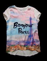 Bluzka T-shirt kolorowa aplikacja 134 140