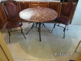 стол, 2 стула (ковка, кожа, мрамор)