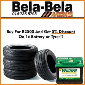 Buy for R2500 & get 5% discount on 1x Battery or Tyres